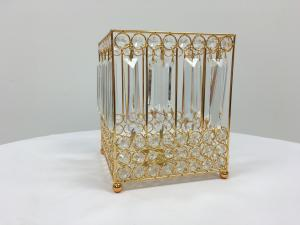 Gold 9.5 Crystal Square Candle Holder
