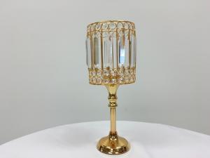 Gold 23 Crystal Round Stem Candle Holder