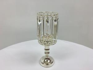 Silver 12 Crystal Round Stem Candle Holder
