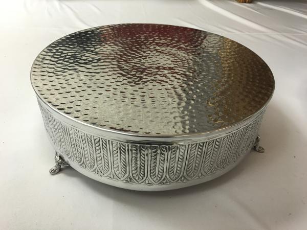Medium Silver Round Cake Stand 6x18