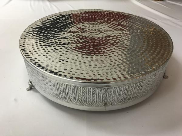 Large Silver Round Cake Stand 6x22