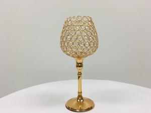 Gold 22 Crystal Tulip Stem Candle Holder