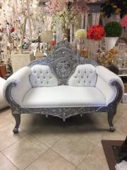 Silver and White Queen Love Seat