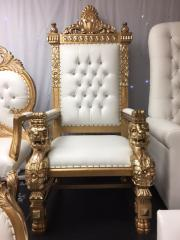 Single Lion Throne Chair (Gold)