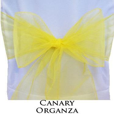 Chair Sashe Organza Color Canary Yellow