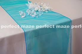 Table Runner Organza Tiffany Blue