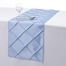 Table Runner Pintuck Taffeta Color Baby Blue
