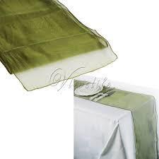 Table Runner Organza Sage Green