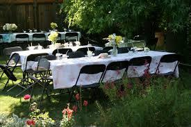 Set of 6ft Rect Table and 6 White Chairs w/linen Lap Length Tablecloth
