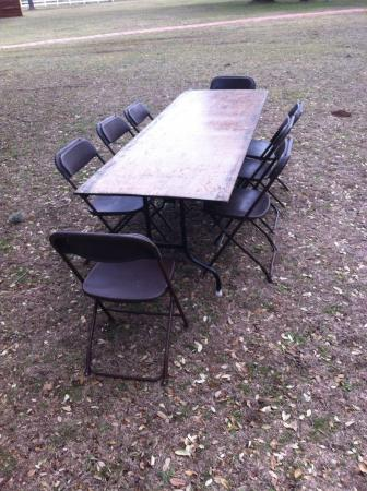 Set of 8ft Rect Table and 8 Brown Chairs