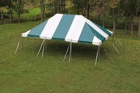 20\' x 20\' Pole Tent White / Green Stripes Customer Set Up (Tools Not Included) Staked in the ground