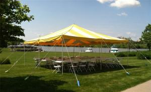 Do it Yourself Set of 20 x 20 Pole Tent striped White & Yellow w/ 4 Tables and 30 Folding Chairs Brown Outdoor  (Tools Not Included) Staked in the ground