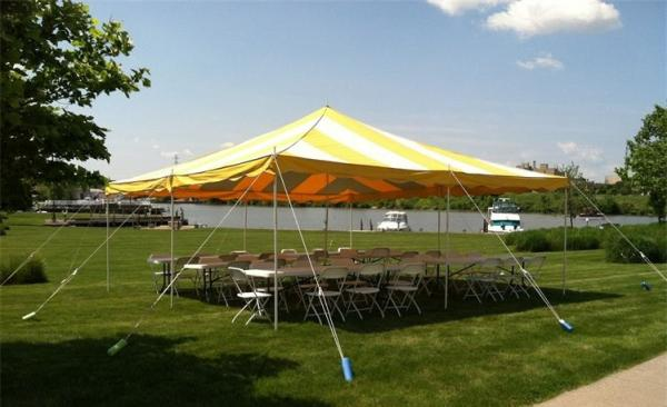 Do it Yourself Set of 20 x 20 Pole Tent Striped White & Yellow w/4 Tables and 30 Folding chair White Outdoor