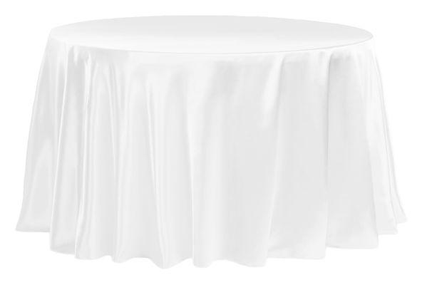 Satin 120 Round Tablecloth White