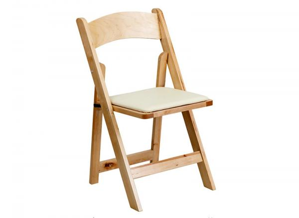 Folding Chair, Natural Wood w/pad