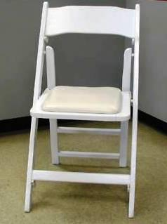 Folding Chair White wood w/pad