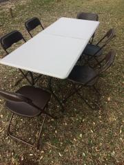 Set of 6ft Rect Table and 6 Brown Chairs
